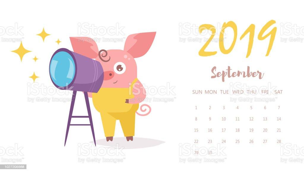 Calendario Dibujo Septiembre.Ilustracion De Vector De Cerdo Dibujos Animados Arte Aislado