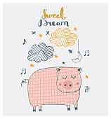 Cute doodle piggy dreaming.cartoon hand drawn vector illustration. Can be used for baby t-shirt print, fashion print design, kids wear, baby shower celebration greeting and invitation card