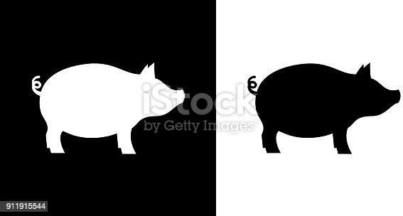 Pig.This royalty free vector illustration features the main icon on both white and black backgrounds. The image is black and white and had the background rendered with the main icon. The illustration is simple yet very conceptual.