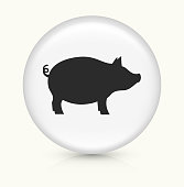 Pig.The icon is white and is placed on a round vector button. The button is light in color and the background is light as well. The composition is simple and elegant. There is a small shadow under the button. The vector icon is the most prominent part if this illustration.