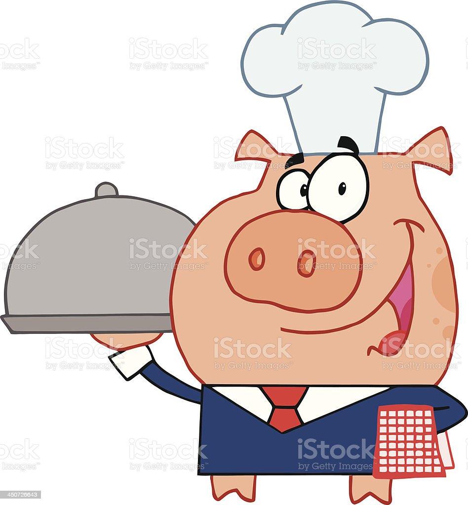 Pig Waiter royalty-free pig waiter stock vector art & more images of animal