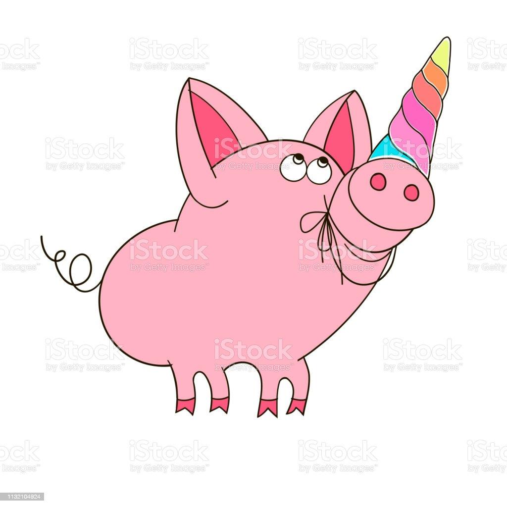 Un Cochon Avec Une Corne De Licorne Illustration Drôle De