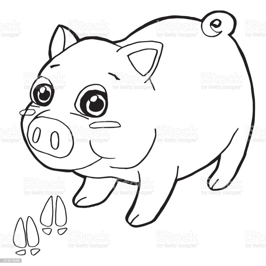 Pig With Paw Print Coloring Page Vector stock vector art 813518088 ...
