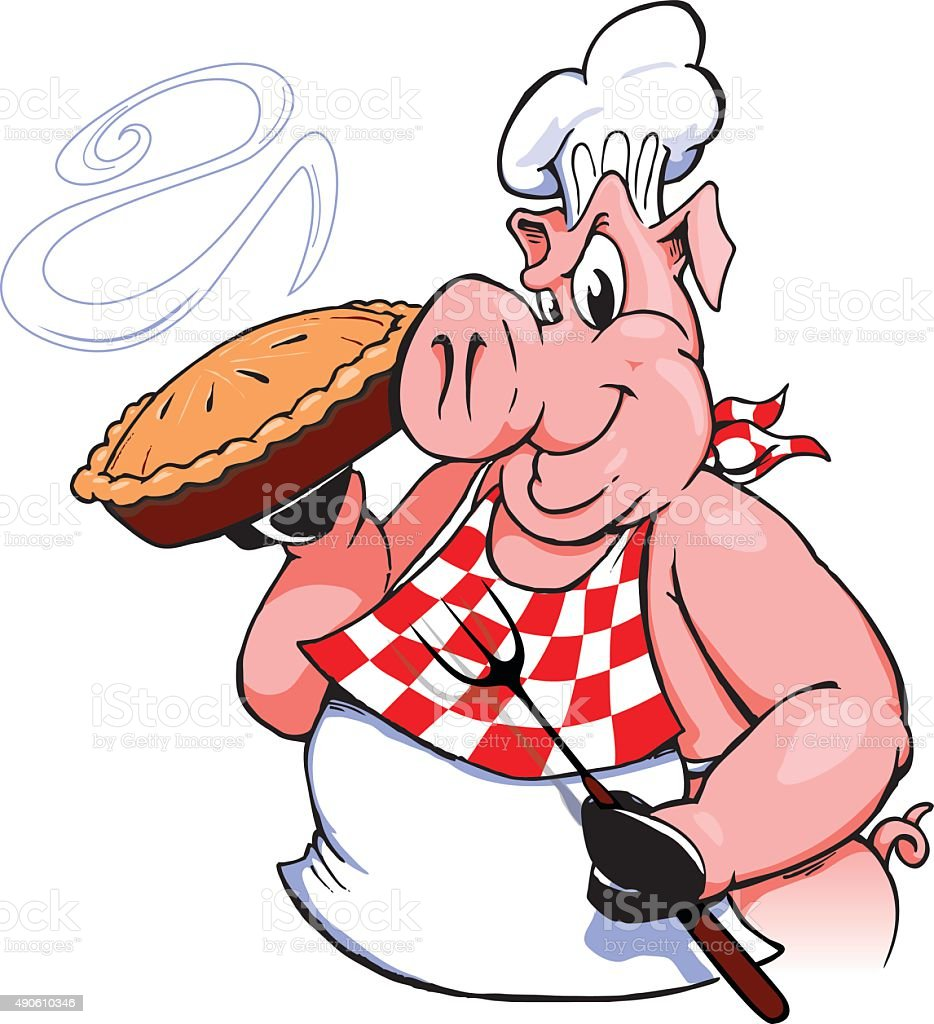 BBQ Pig with Pie vector art illustration