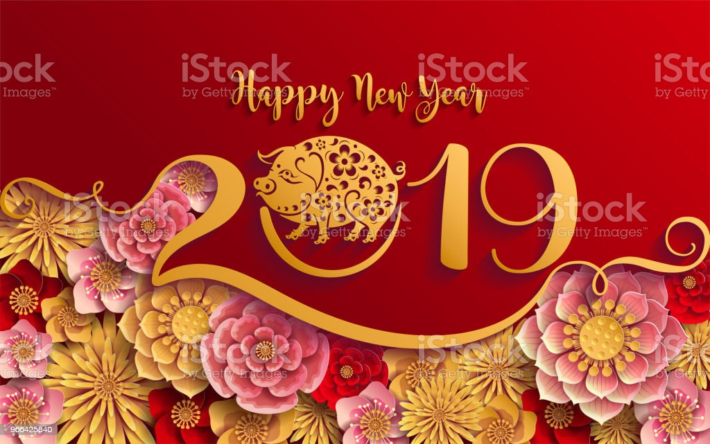 Pig year 0103happy chinese new year 2019 zodiac sign with - New year 2019 color ...