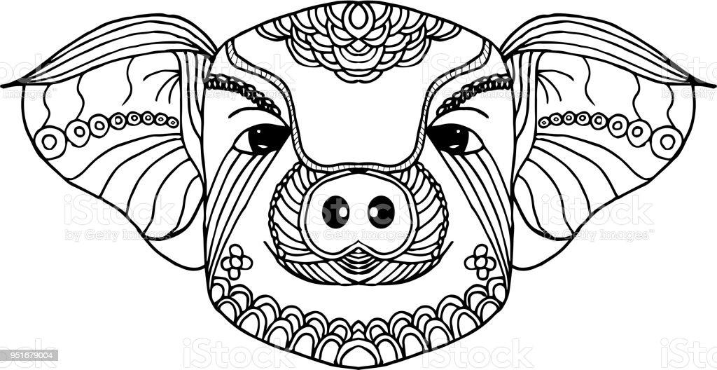 Ilustración de Arte De Línea Zodiaco Cerdo Mano Dibujado Y Animal ...