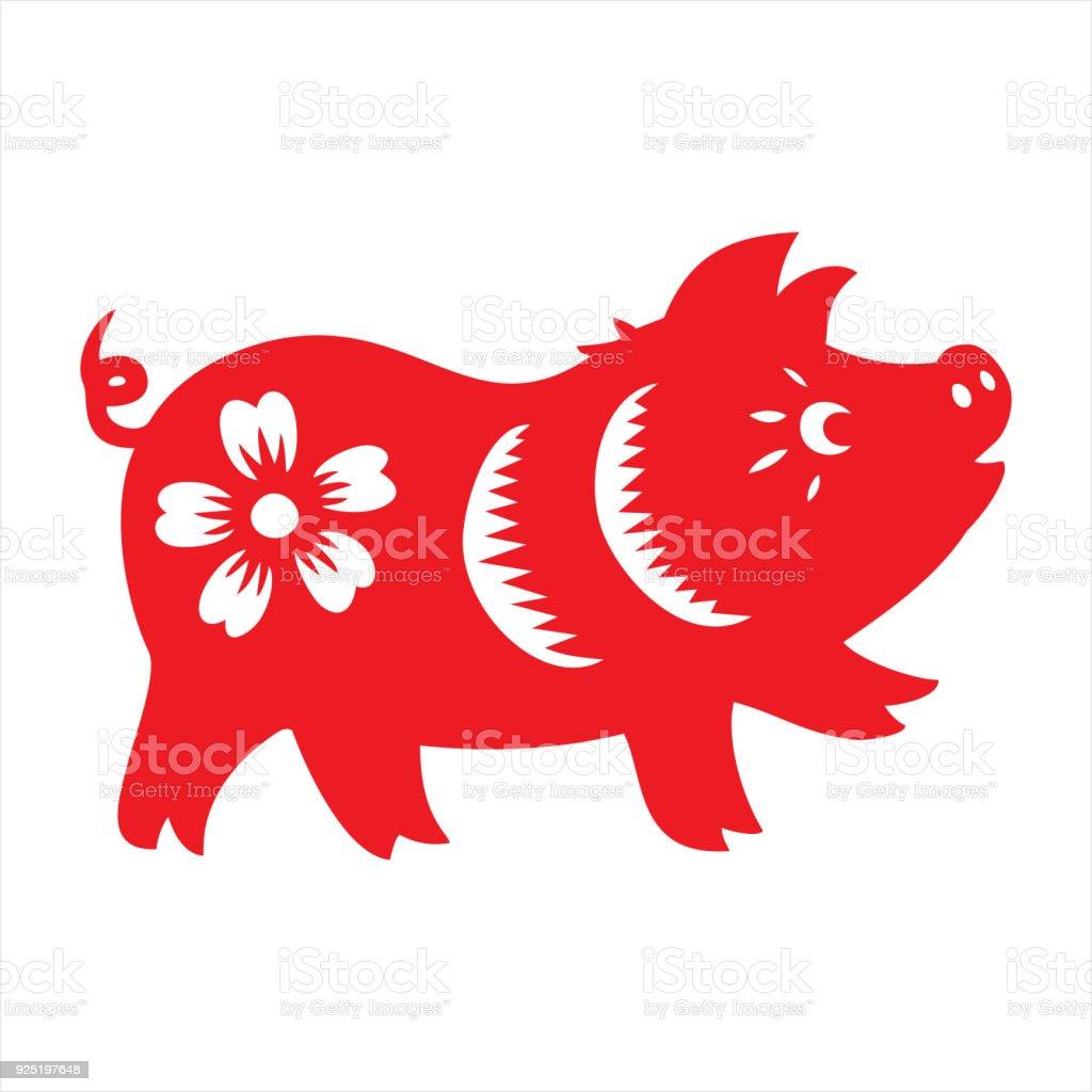 Pig, zodiac sign vector art illustration