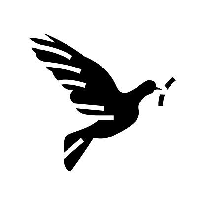 pigeon bird christianity glyph icon vector illustration