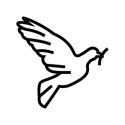pigeon bird christianity line icon vector illustration