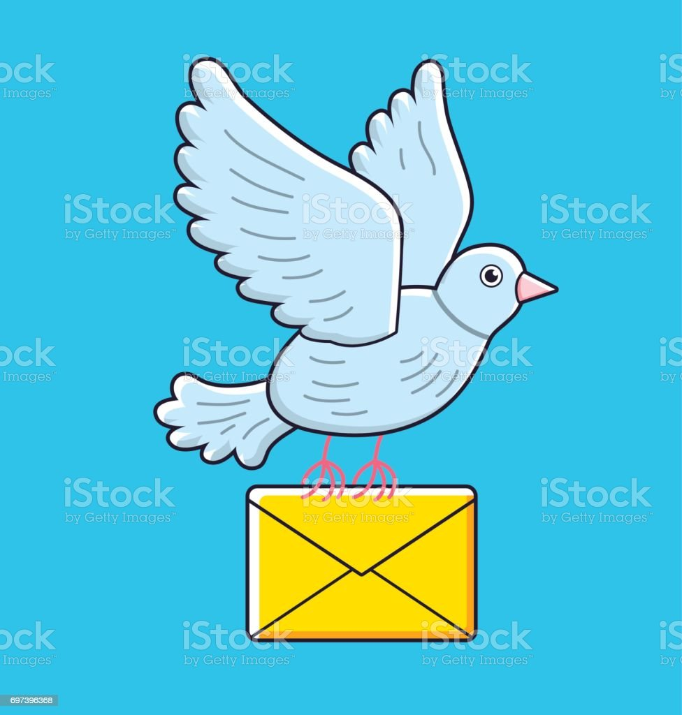 Pigeon bird flying with a yellow envelope. Dove mail. vector art illustration