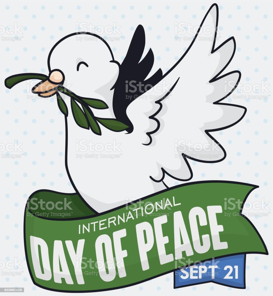 pigeon holding olive branch and ribbon for day of peace royalty free stock vector art
