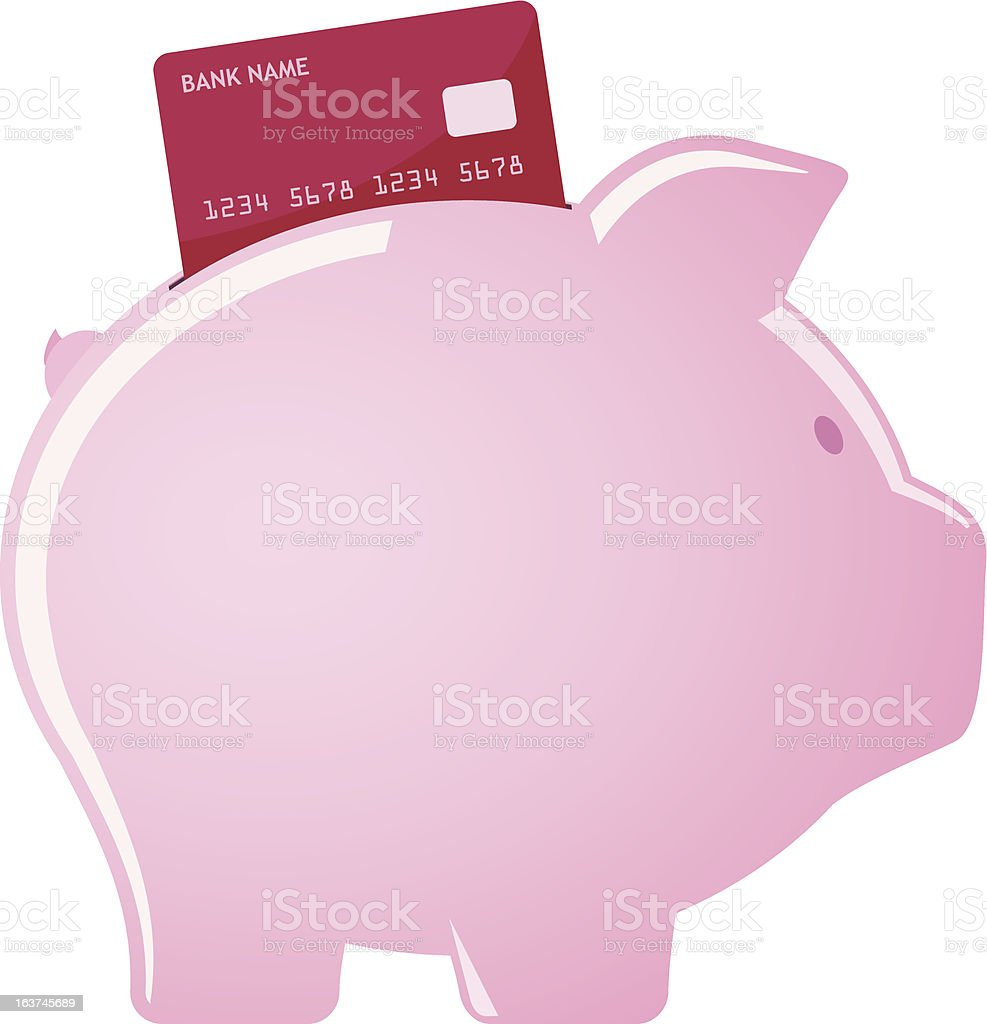 Piggy bank accepting credit cards royalty-free stock vector art
