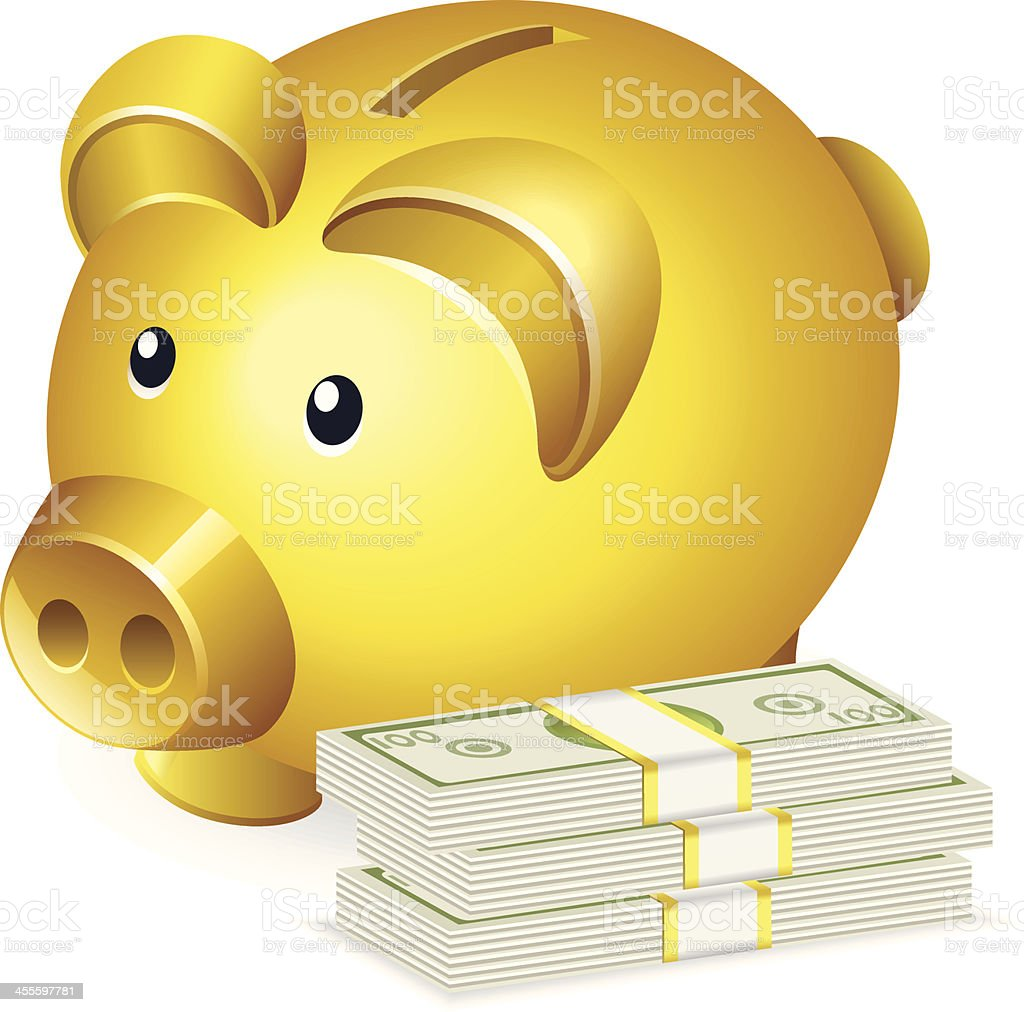 Piggy Bank and Cash stack royalty-free stock vector art