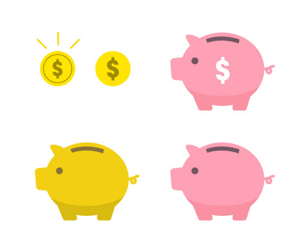 Piggy bank and coin icon set Piggy bank and coin icon piggy bank stock illustrations