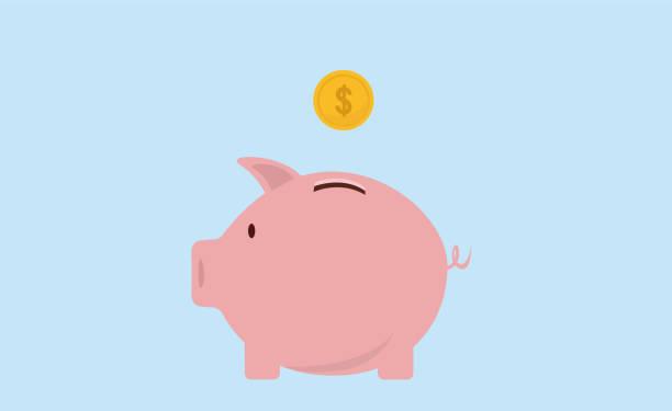 Piggy bank and gold coins. Modern flat design, Piggy bank and coin icon vector. Piggy bank and gold coins. Modern flat design, Piggy bank and coin icon vector. piggy bank stock illustrations