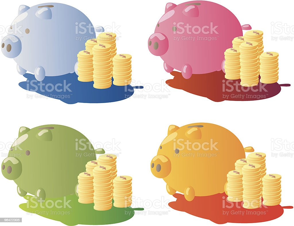 Piggy Bank And Gold Coins royalty-free stock vector art