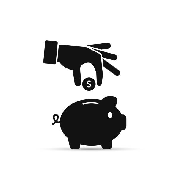 Piggy bank and hand with coin black icon. Vector. Piggy bank and hand with coin black icon. Vector isolated illustration. piggy bank stock illustrations