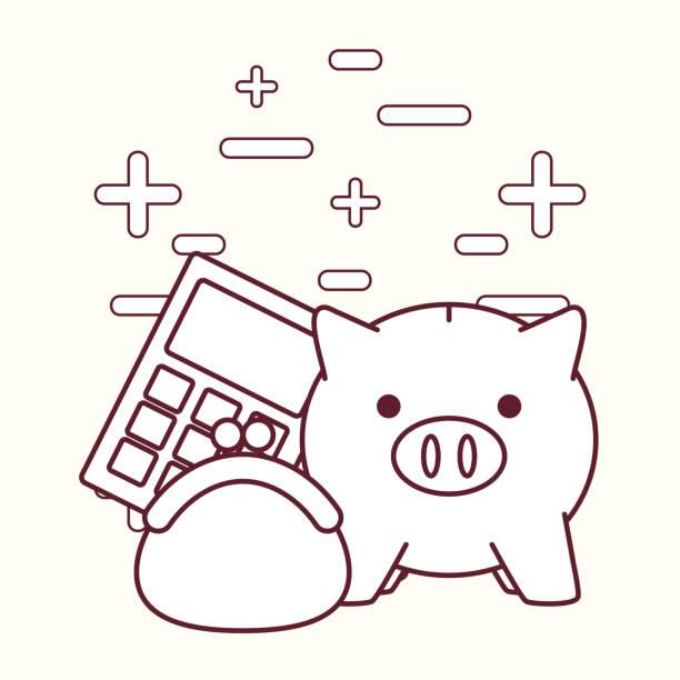 Iconos relacionados con hucha y dinero - ilustración de arte vectorial
