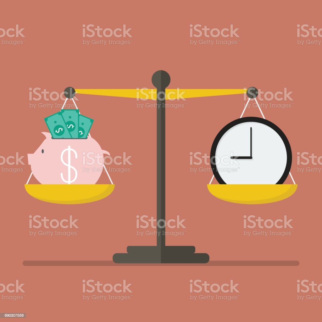 Piggy bank and Time balance on the scale vector art illustration