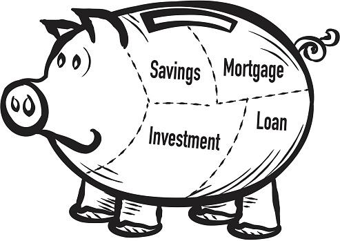 Piggy bank asset allocation concept