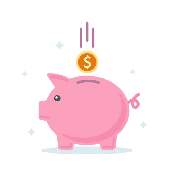 Piggy bank. Banking investment concept. Flat style Piggy bank. Banking investment concept. Flat style. Vector illustration piggy bank stock illustrations