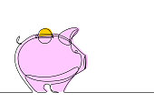 Continuous line vector illustration of a piggy bank