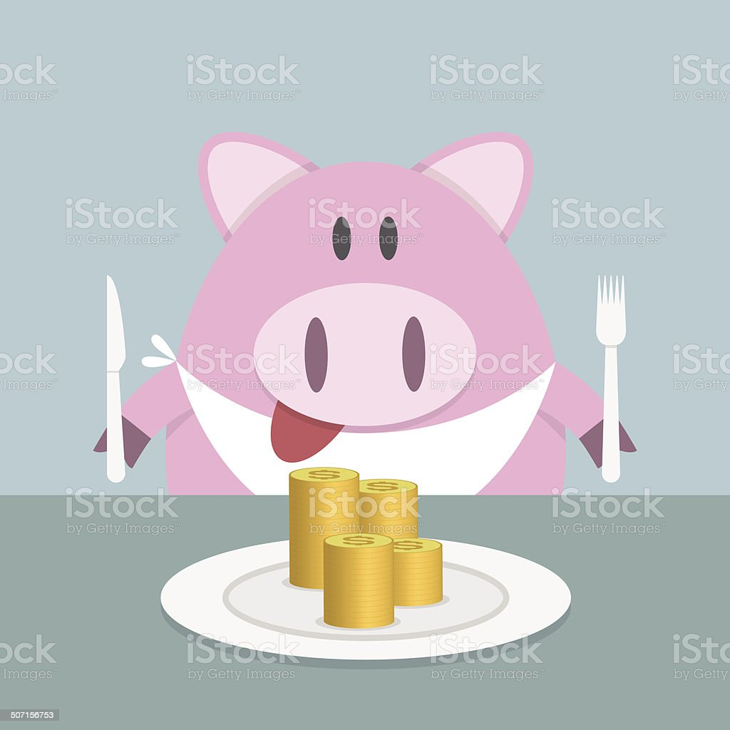 Piggy bank eating coin royalty-free piggy bank eating coin stock vector art & more images of animal