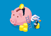 Piggy bank, financial analysis and investment