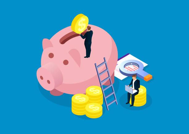 ilustrações de stock, clip art, desenhos animados e ícones de piggy bank, financial analysis and investment - save money