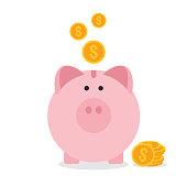 Piggy bank flat design, saving money concept