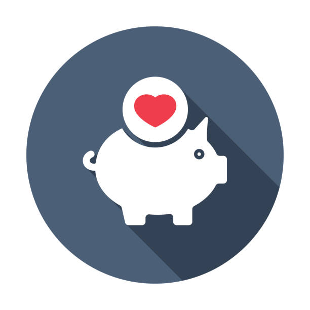 Piggy bank icon, business icon with heart sign. Piggy bank icon and favorite, like, love, care symbol. Vector illustration vector art illustration