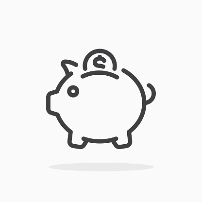 Piggy bank icon in line style.