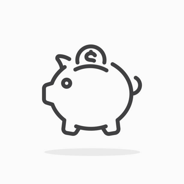 Piggy bank icon in line style. Piggy bank icon in line style. For your design, logo. Vector illustration. Editable Stroke. piggy bank stock illustrations