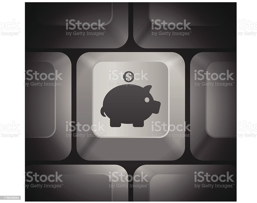 Piggy Bank Icon on Computer Keyboard royalty-free piggy bank icon on computer keyboard stock vector art & more images of animal
