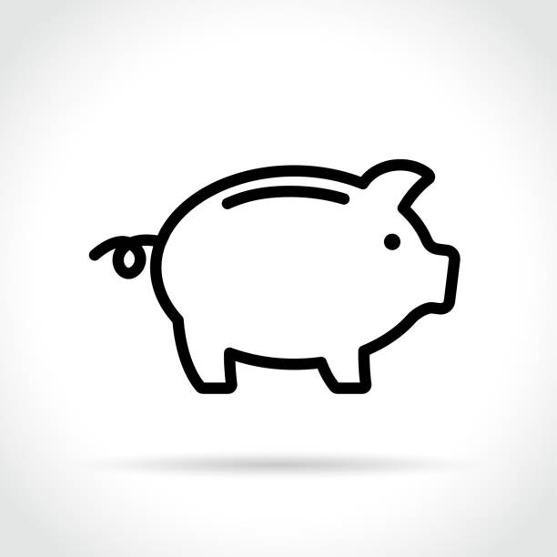 piggy bank icon on white background Illustration of piggy bank icon on white background piggy bank stock illustrations