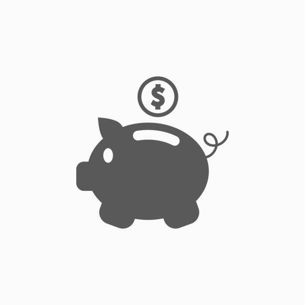 piggy bank icon piggy bank icon budget symbols stock illustrations