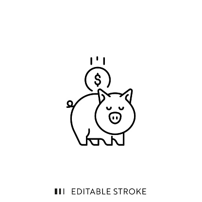 Piggy Bank Icon with Editable Stroke and Pixel Perfect.