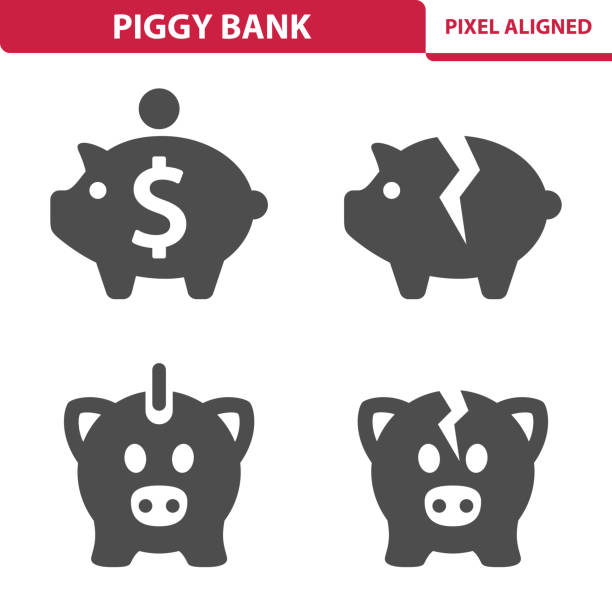 Piggy Bank Icons Professional, pixel perfect icons, EPS 10 format. piggy bank stock illustrations