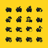 Illustration of piggy bank icons on the white,vector illustration.