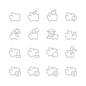 Illustration of piggy bank icons on the white.