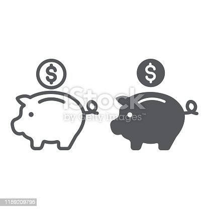 Piggy bank line and glyph icon, finance and banking, investment sign, vector graphics, a linear pattern on a white background, eps 10.