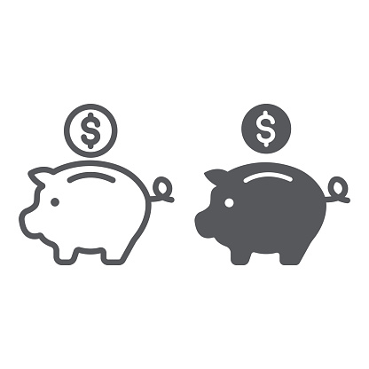Piggy bank line and glyph icon, finance and banking, investment sign, vector graphics, a linear pattern on a white background.