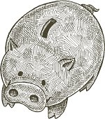 Hand drawn line art illustration of a cute piggy bank.