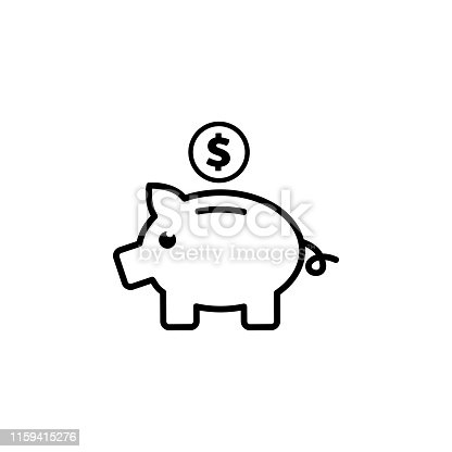 Piggy Bank Line Icon In Flat Style Vector For Apps, UI, Websites. Black Icon Vector Illustration.