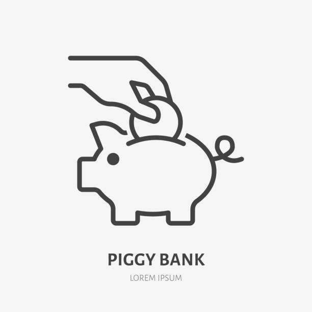 Piggy bank line icon, vector pictogram of hand putting coin into toy piggybank. Save money concept, economy illustration, financial account sign Piggy bank line icon, vector pictogram of hand putting coin into toy piggybank. Save money concept, economy illustration, financial account sign. budget silhouettes stock illustrations