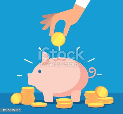 istock Piggy bank. Money box with falling gold coins. Deposit banking account and cash vector business concept 1275815977