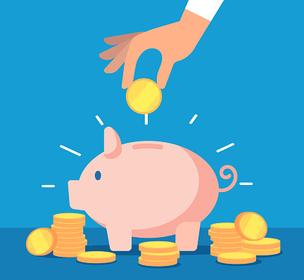 Piggy bank. Money box with falling gold coins. Deposit banking account and cash vector business concept. Illustration of savings dollar, piggybank and moneybox investing