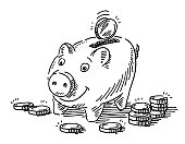 Piggy Bank Money Coins Drawing