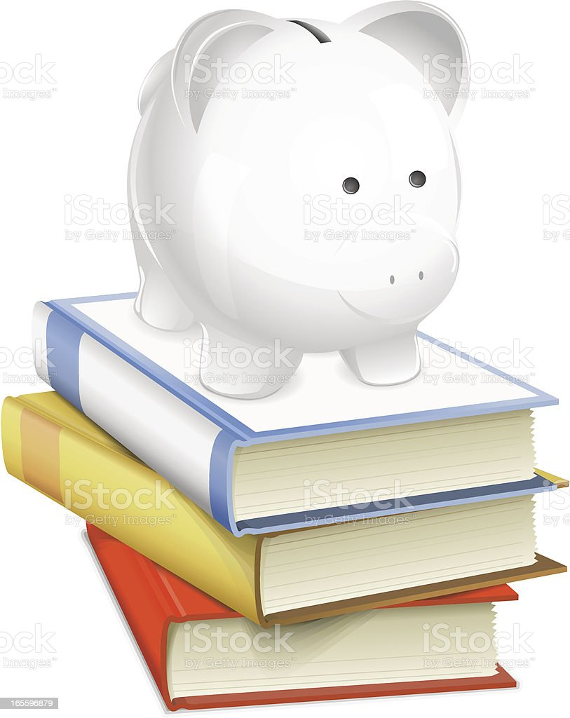 Piggy bank on books. Money and education concept. royalty-free piggy bank on books money and education concept stock vector art & more images of a helping hand