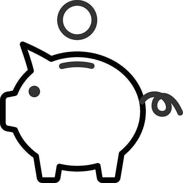 Piggy Bank outline icon Piggy Bank. Fully scalable vector icon in outline style. piggy bank stock illustrations